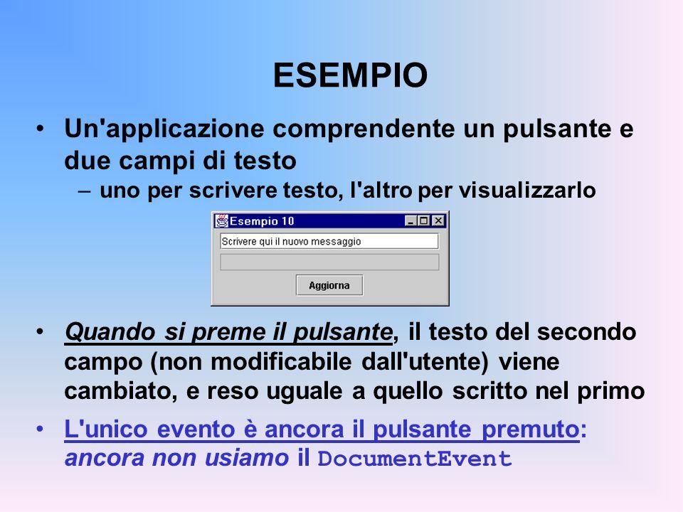ESEMPIO Un'applicazione comprendente un pulsante e due campi di testo –uno per scrivere testo, l'altro per visualizzarlo Quando si preme il pulsante,