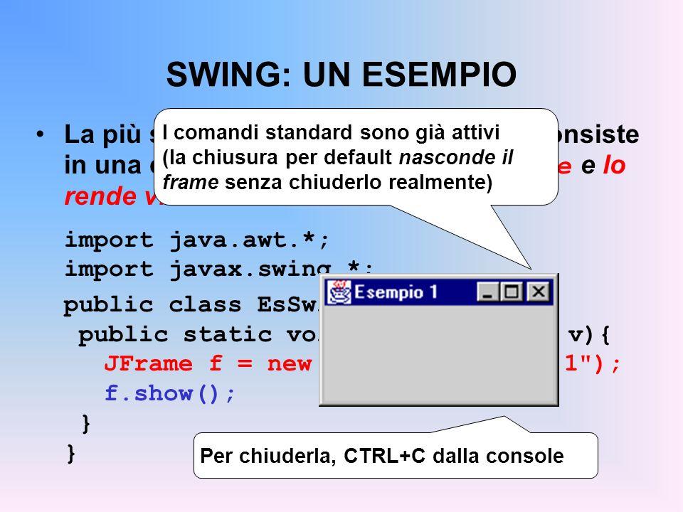 SWING: UN ESEMPIO La finestra che così nasce ha però dimen- sioni nulle (bisogna allargarla a mano ) Per impostare le dimensioni di un qualunque contenitore si usa setSize(), che ha come parametro un opportuno oggetto di classe Dimension : f.setSize(new Dimension(300,150)); Larghezza (x), Altezza (y) Le misure sono in pixel (tutto lo schermo = 800x600, 1024x768, etc)