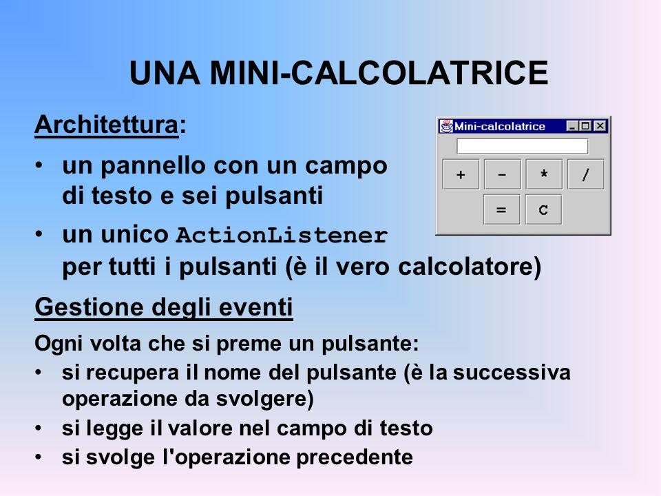 UNA MINI-CALCOLATRICE Architettura: un pannello con un campo di testo e sei pulsanti un unico ActionListener per tutti i pulsanti (è il vero calcolato