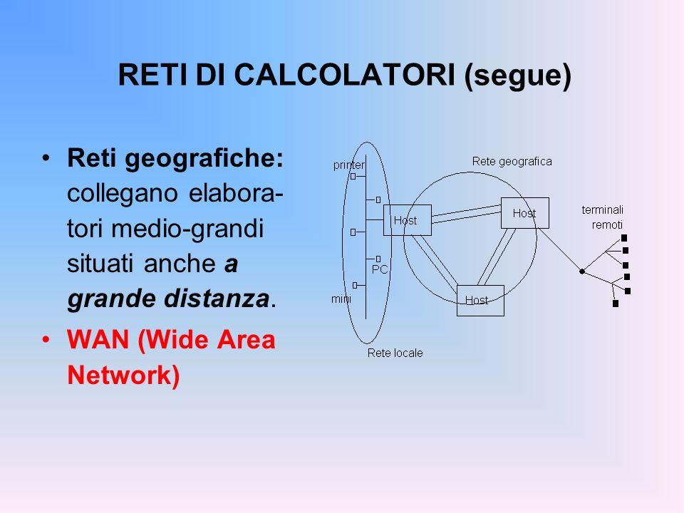 RETI DI CALCOLATORI (segue) Reti geografiche: collegano elabora- tori medio-grandi situati anche a grande distanza. WAN (Wide Area Network)