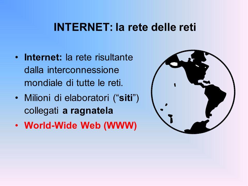 INTERNET: la rete delle reti Internet: la rete risultante dalla interconnessione mondiale di tutte le reti. Milioni di elaboratori (siti) collegati a