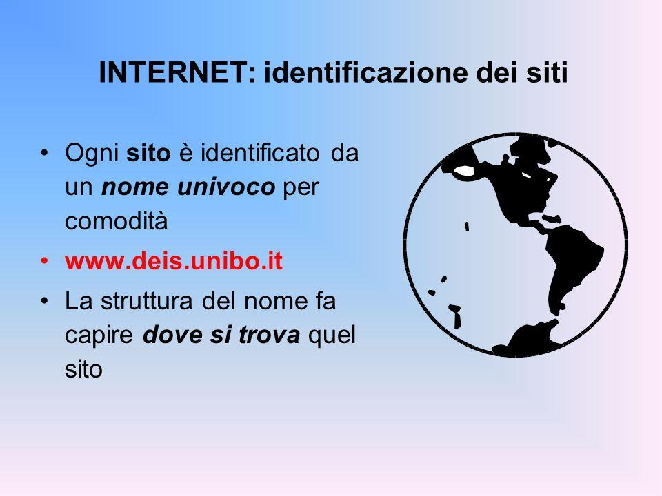 INTERNET: identificazione dei siti Ogni sito è identificato da un nome univoco per comodità www.deis.unibo.it La struttura del nome fa capire dove si