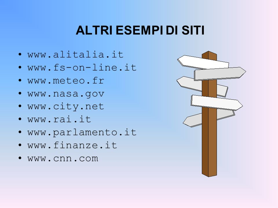 ALTRI ESEMPI DI SITI www.alitalia.it www.fs-on-line.it www.meteo.fr www.nasa.gov www.city.net www.rai.it www.parlamento.it www.finanze.it www.cnn.com