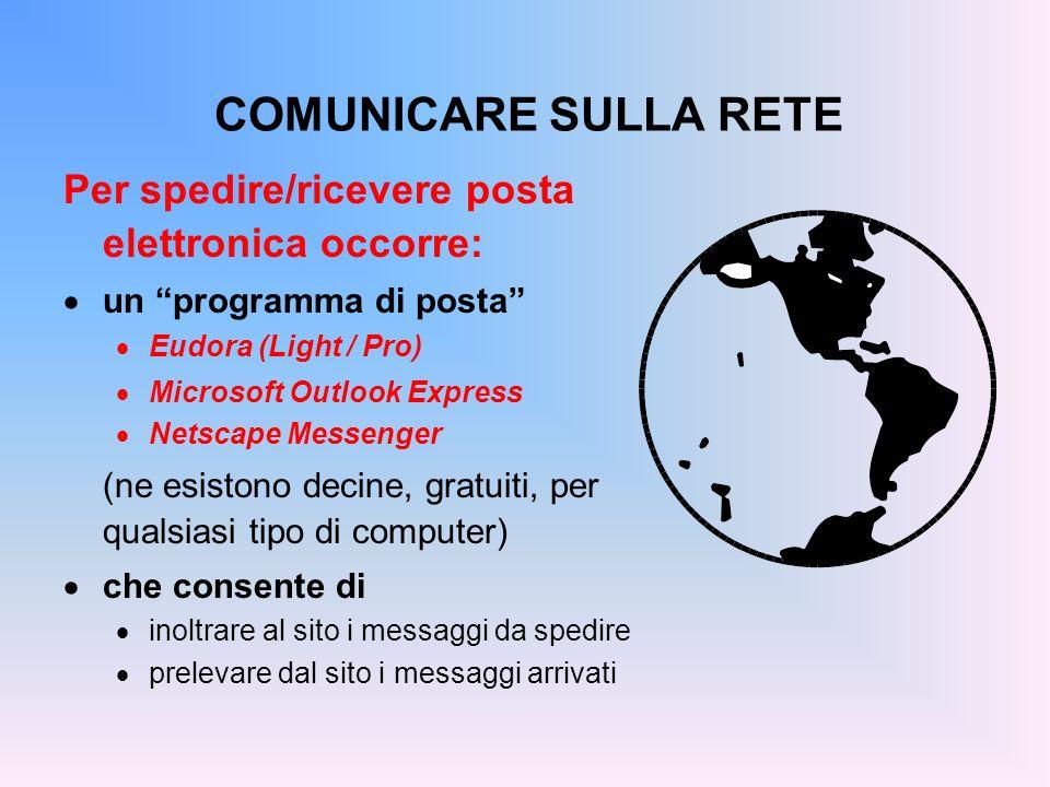 COMUNICARE SULLA RETE Per spedire/ricevere posta elettronica occorre: un programma di posta Eudora (Light / Pro) Microsoft Outlook Express Netscape Me