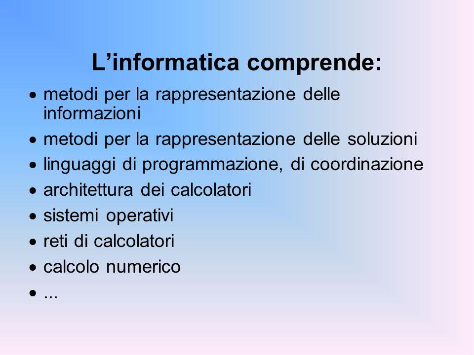 Linformatica comprende: metodi per la rappresentazione delle informazioni metodi per la rappresentazione delle soluzioni linguaggi di programmazione,