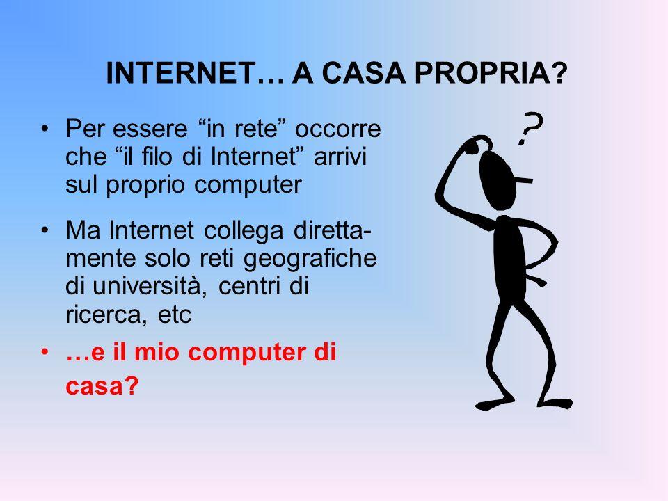 INTERNET… A CASA PROPRIA? Per essere in rete occorre che il filo di Internet arrivi sul proprio computer Ma Internet collega diretta- mente solo reti
