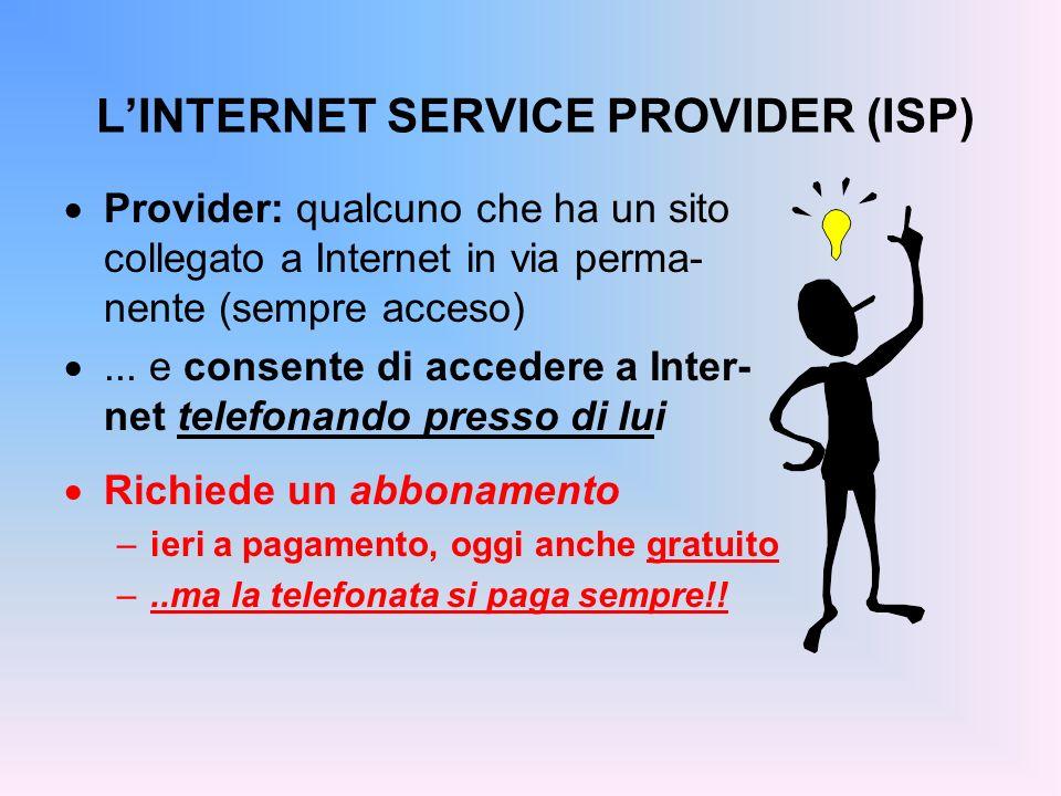 LINTERNET SERVICE PROVIDER (ISP) Provider: qualcuno che ha un sito collegato a Internet in via perma- nente (sempre acceso)... e consente di accedere
