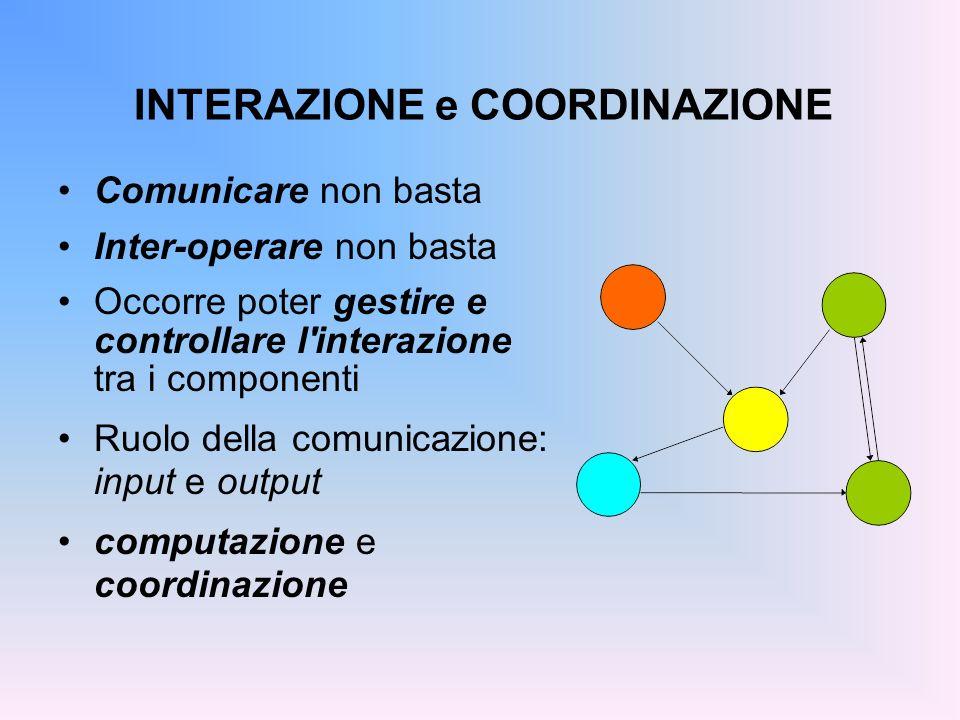 INTERAZIONE e COORDINAZIONE Comunicare non basta Inter-operare non basta Occorre poter gestire e controllare l'interazione tra i componenti Ruolo dell