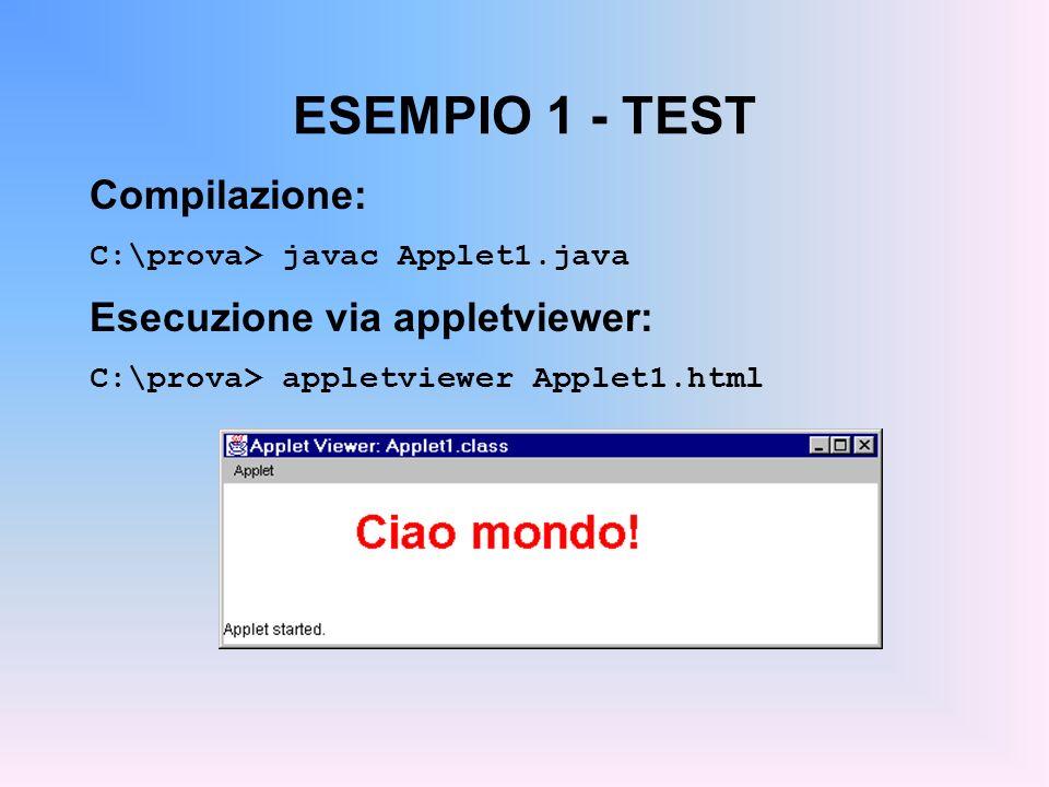 ESEMPIO 1 - TEST Compilazione: C:\prova> javac Applet1.java Esecuzione via appletviewer: C:\prova> appletviewer Applet1.html