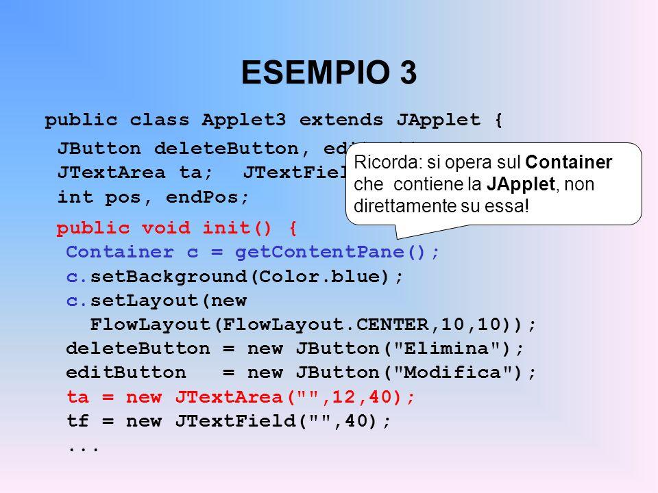 ESEMPIO 3 public class Applet3 extends JApplet { JButton deleteButton, editButton; JTextArea ta;JTextField tf; int pos, endPos; public void init() { C