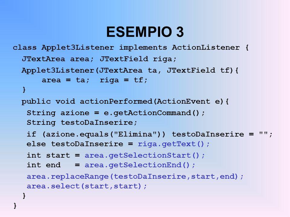 ESEMPIO 3 class Applet3Listener implements ActionListener { JTextArea area;JTextField riga; Applet3Listener(JTextArea ta, JTextField tf){ area = ta;ri