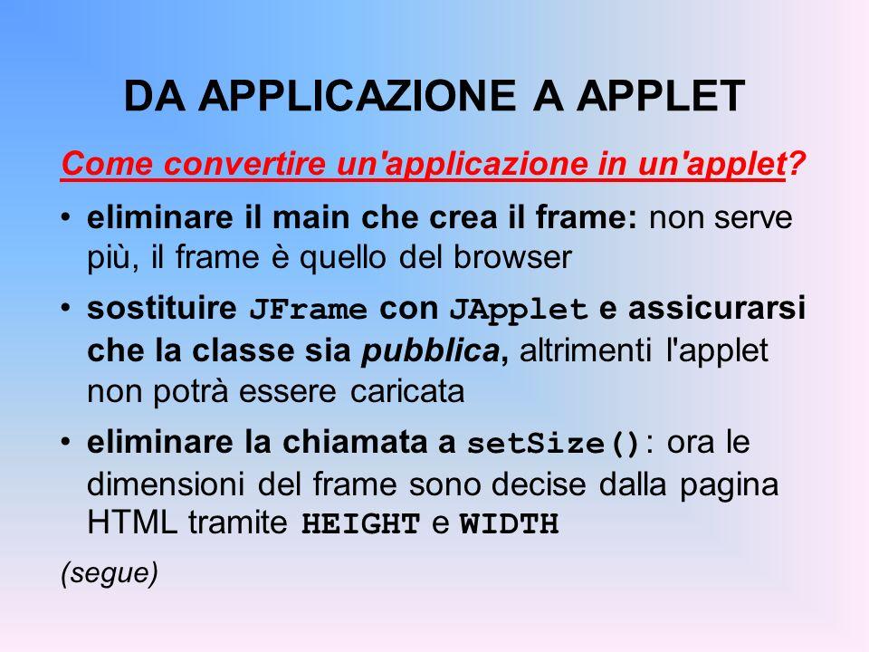 DA APPLICAZIONE A APPLET Come convertire un'applicazione in un'applet? eliminare il main che crea il frame: non serve più, il frame è quello del brows