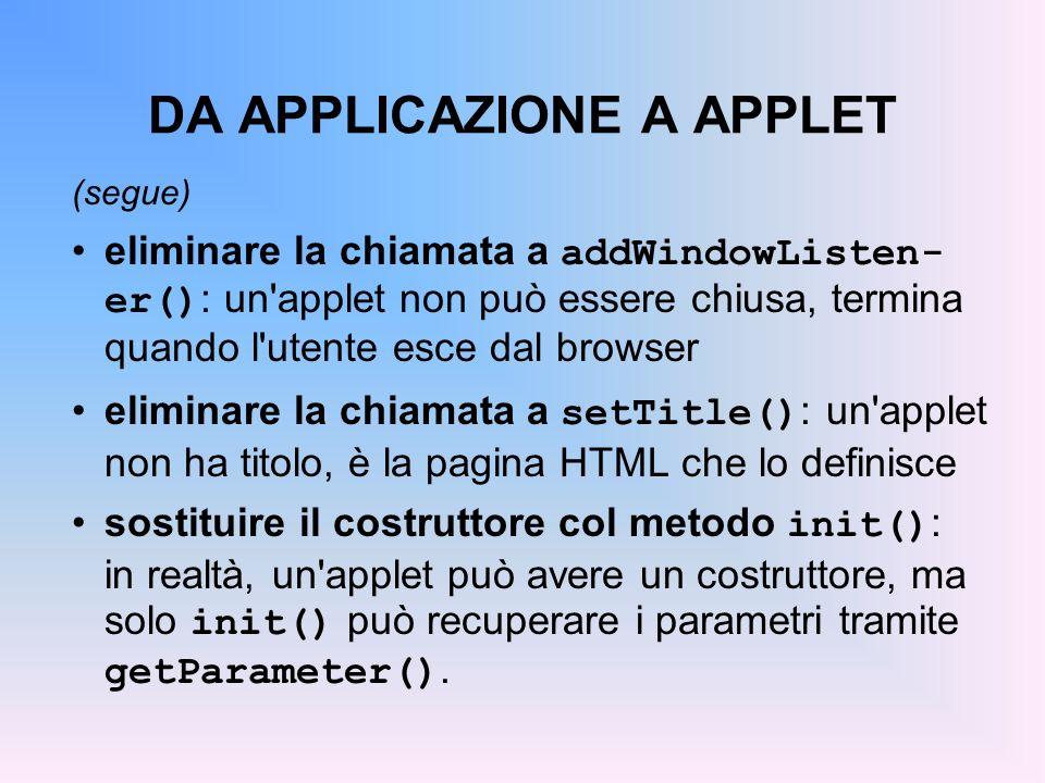 DA APPLICAZIONE A APPLET (segue) eliminare la chiamata a addWindowListen- er() : un'applet non può essere chiusa, termina quando l'utente esce dal bro