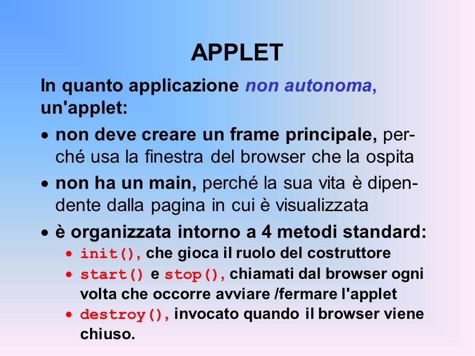 APPLET In quanto applicazione non autonoma, un'applet: non deve creare un frame principale, per- ché usa la finestra del browser che la ospita non ha