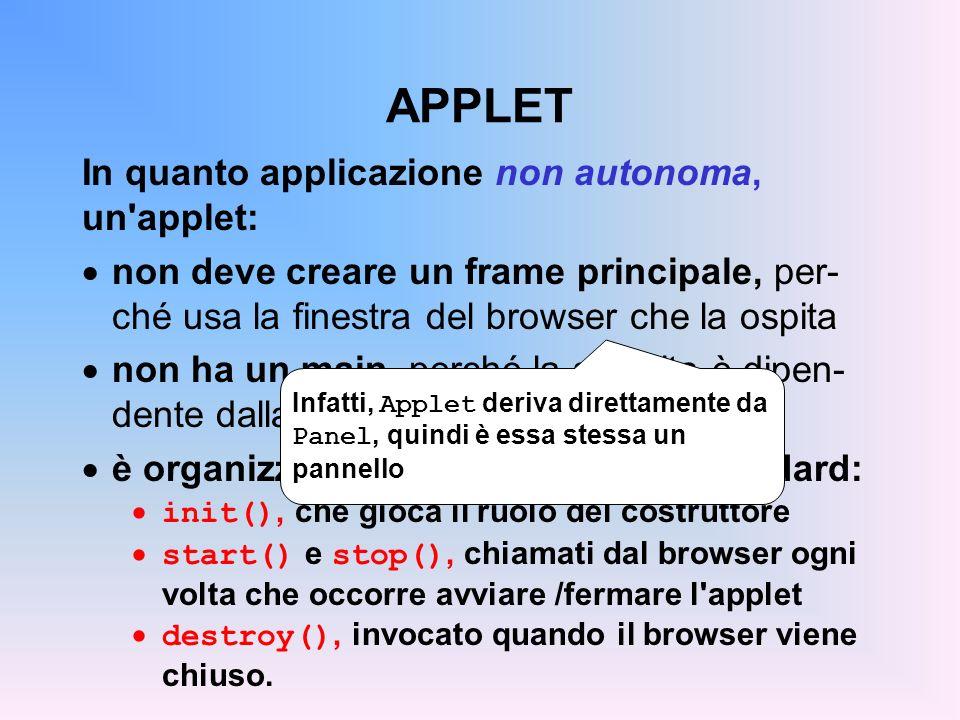 APPLET Esistono due versioni di Applet: la classe Applet dell AWT standard (da Java 1.0 in poi) la classe JApplet di Swing (da Java 1.1.6 in poi) Attenzione: se si usano componenti Swing, occorre necessariamente usare JApplet una Applet con componenti Swing non viene disegnata correttamente