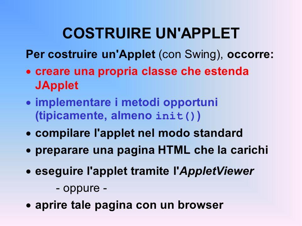 ESEMPIO 1 import java.applet.*; import java.awt.*; import javax.swing.*; public class Applet1 extends JApplet { Font f = new Font( Times , Font.BOLD, 36); public void paint(Graphics g) { g.setFont(f); g.setColor(Color.red); g.drawString( Ciao mondo! , 100, 50); } Non implementa nessuno dei metodi init(), start(), stop(), ecc.