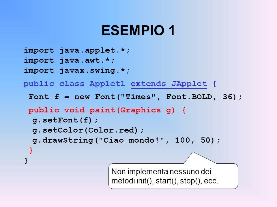 DA APPLICAZIONE A APPLET (segue) eliminare la chiamata a addWindowListen- er() : un applet non può essere chiusa, termina quando l utente esce dal browser eliminare la chiamata a setTitle() : un applet non ha titolo, è la pagina HTML che lo definisce sostituire il costruttore col metodo init() : in realtà, un applet può avere un costruttore, ma solo init() può recuperare i parametri tramite getParameter().