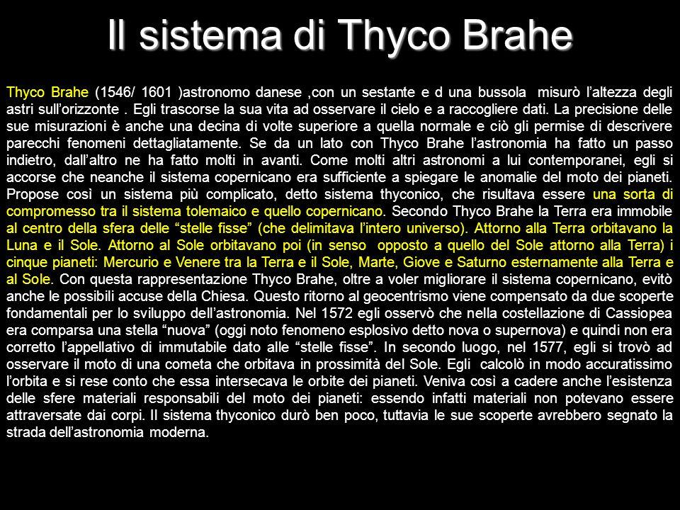 Il sistema di Thyco Brahe Thyco Brahe (1546/ 1601 )astronomo danese,con un sestante e d una bussola misurò laltezza degli astri sullorizzonte. Egli tr