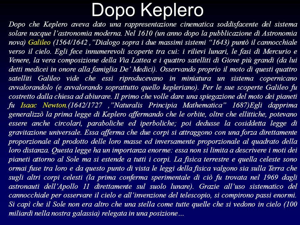 Dopo Keplero Dopo che Keplero aveva dato una rappresentazione cinematica soddisfacente del sistema solare nacque lastronomia moderna. Nel 1610 (un ann