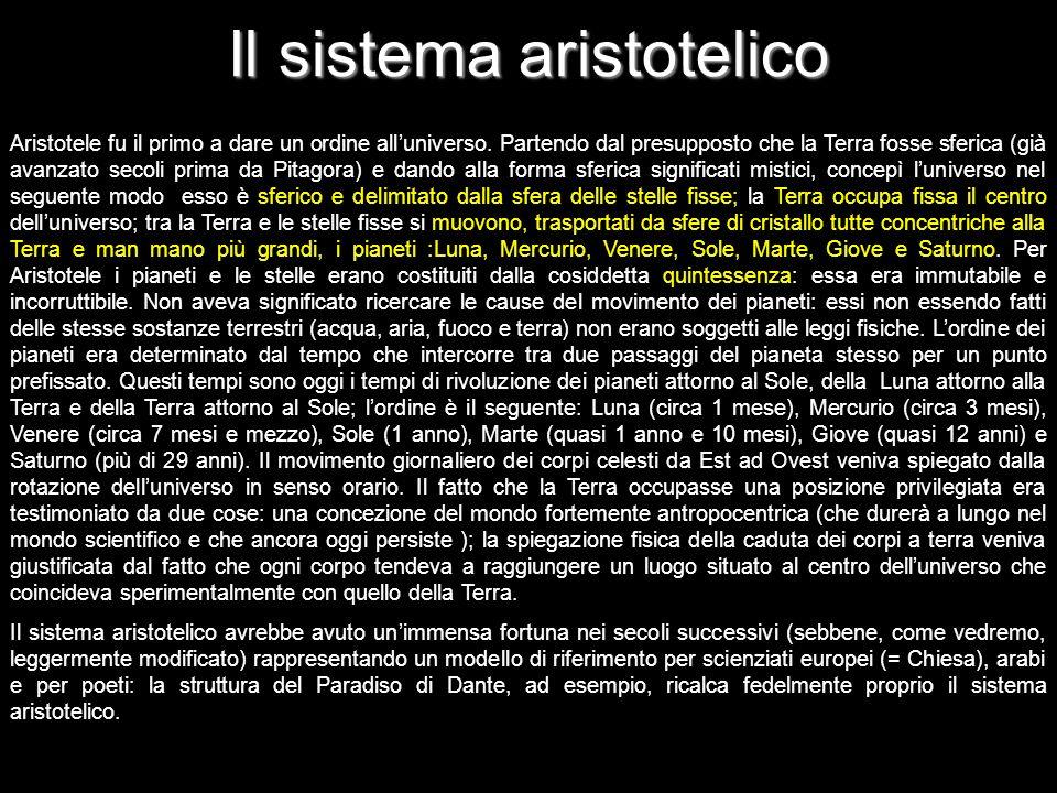 Il sistema aristotelico Aristotele fu il primo a dare un ordine alluniverso. Partendo dal presupposto che la Terra fosse sferica (già avanzato secoli