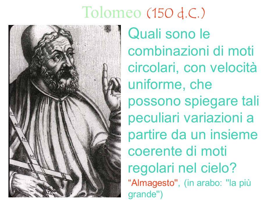 Tolomeo (150 d.C.) Q uali sono le combinazioni di moti circolari, con velocità uniforme, che possono spiegare tali peculiari variazioni a partire da u