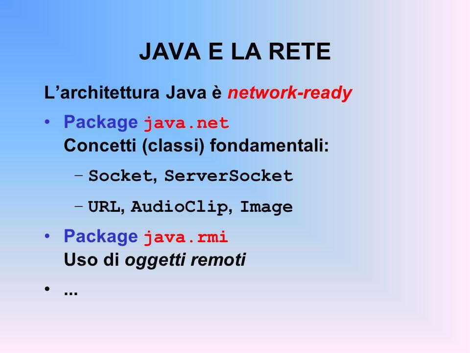 JAVA E LA RETE Larchitettura Java è network-ready Package java.net Concetti (classi) fondamentali: –Socket, ServerSocket –URL, AudioClip, Image Packag
