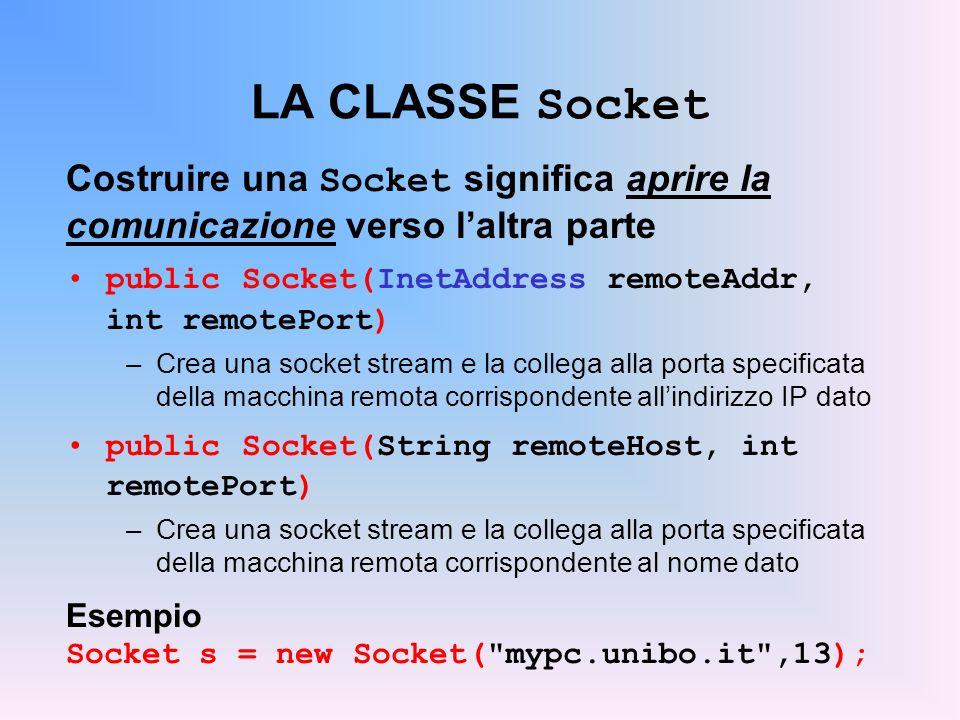 LA CLASSE Socket Costruire una Socket significa aprire la comunicazione verso laltra parte public Socket(InetAddress remoteAddr, int remotePort) –Crea