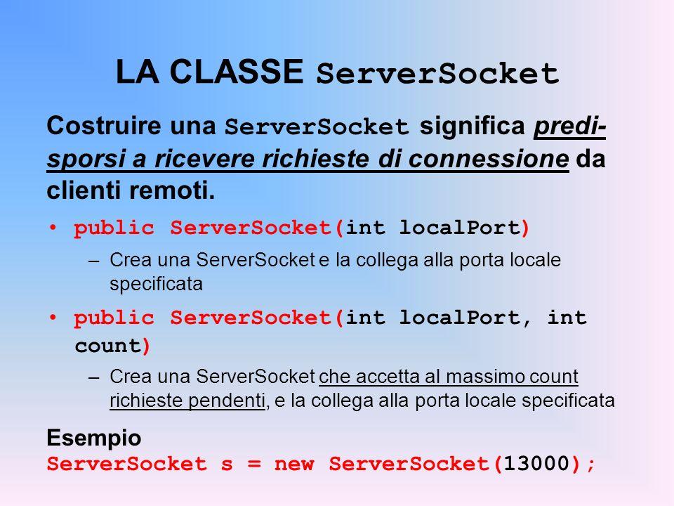 LA CLASSE ServerSocket Costruire una ServerSocket significa predi- sporsi a ricevere richieste di connessione da clienti remoti. public ServerSocket(i