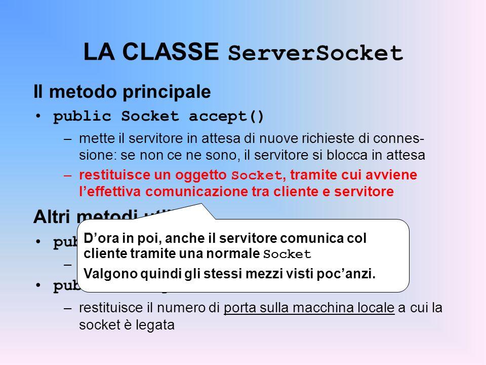 LA CLASSE ServerSocket Il metodo principale public Socket accept() –mette il servitore in attesa di nuove richieste di connes- sione: se non ce ne son