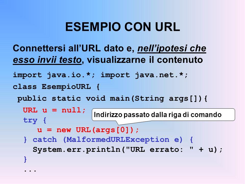 ESEMPIO CON URL Connettersi allURL dato e, nellipotesi che esso invii testo, visualizzarne il contenuto import java.io.*; import java.net.*; class Ese