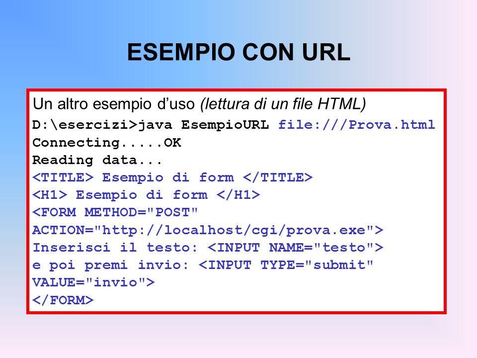 ESEMPIO CON URL Un altro esempio duso (lettura di un file HTML) D:\esercizi>java EsempioURL file:///Prova.html Connecting.....OK Reading data... Esemp
