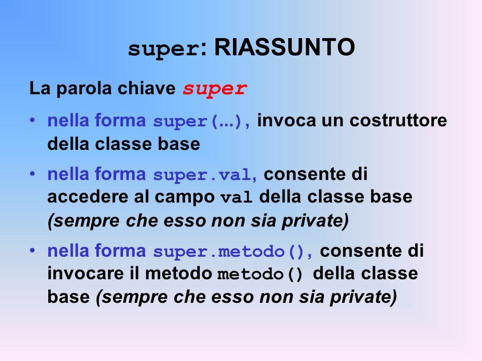 super : RIASSUNTO La parola chiave super nella forma super(...