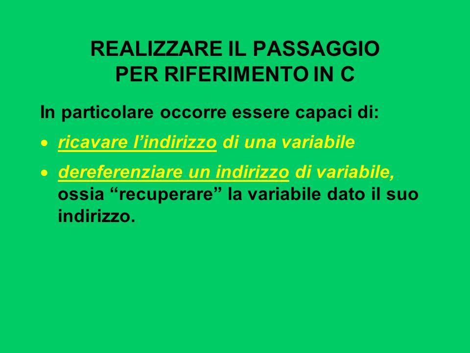REALIZZARE IL PASSAGGIO PER RIFERIMENTO IN C In particolare occorre essere capaci di: ricavare lindirizzo di una variabile dereferenziare un indirizzo