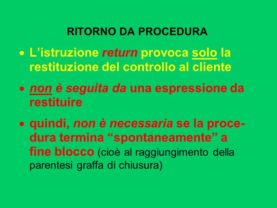 RITORNO DA PROCEDURA Listruzione return provoca solo la restituzione del controllo al cliente non è seguita da una espressione da restituire quindi, n