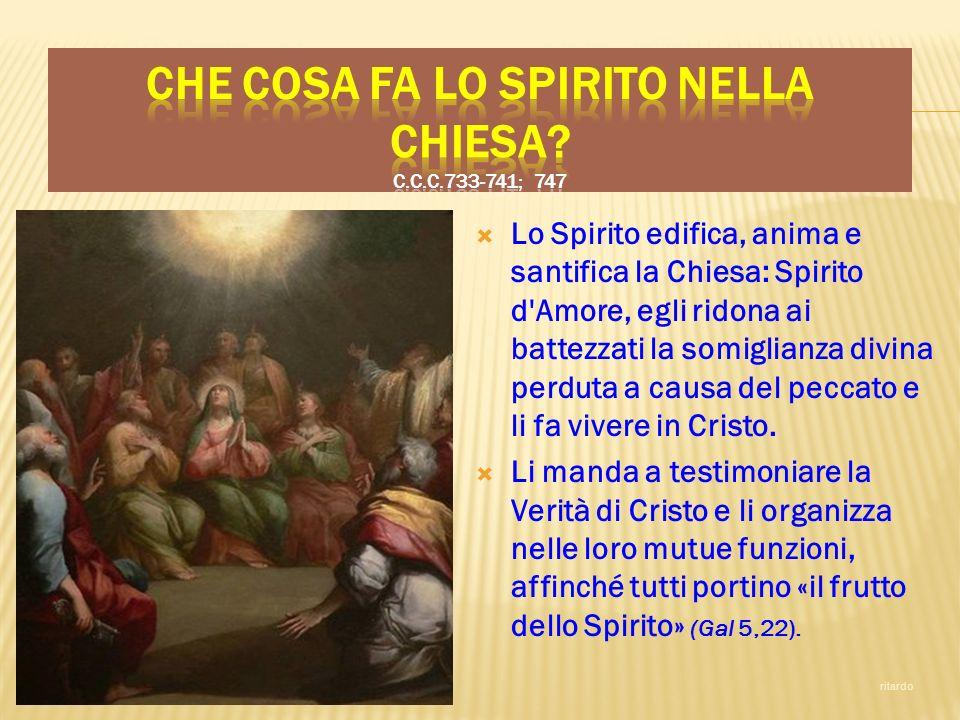 Lo Spirito edifica, anima e santifica la Chiesa: Spirito d'Amore, egli ridona ai battezzati la somiglianza divina perduta a causa del peccato e li fa