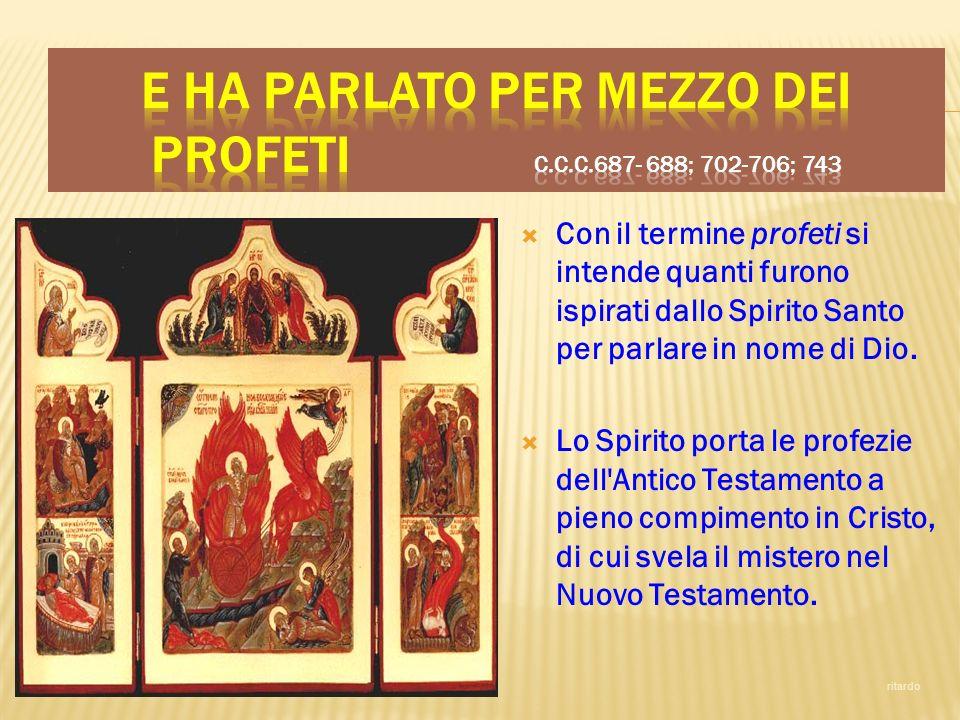 Con il termine profeti si intende quanti furono ispirati dallo Spirito Santo per parlare in nome di Dio. Lo Spirito porta le profezie dell'Antico Test