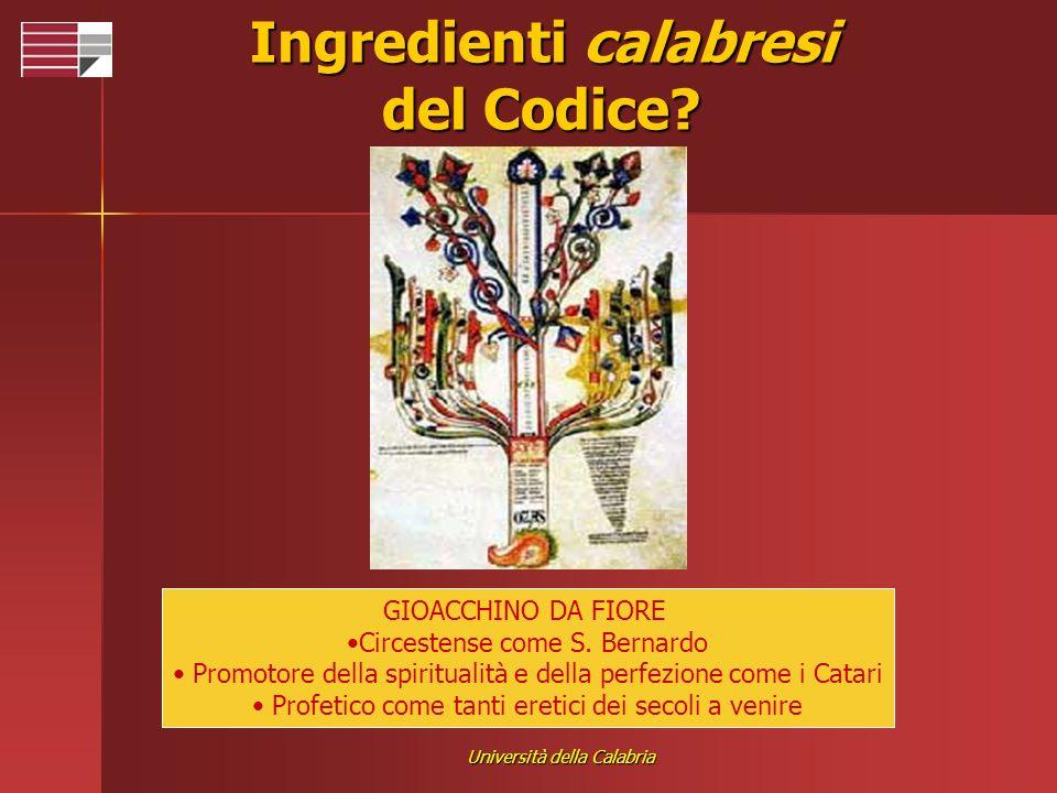 Università della Calabria Ingredienti calabresi del Codice? GIOACCHINO DA FIORE Circestense come S. Bernardo Promotore della spiritualità e della perf