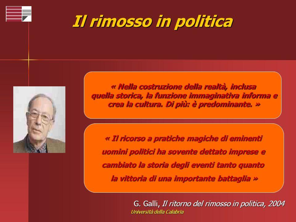 Università della Calabria G. Galli, Il ritorno del rimosso in politica, 2004 « Nella costruzione della realtà, inclusa quella storica, la funzione imm