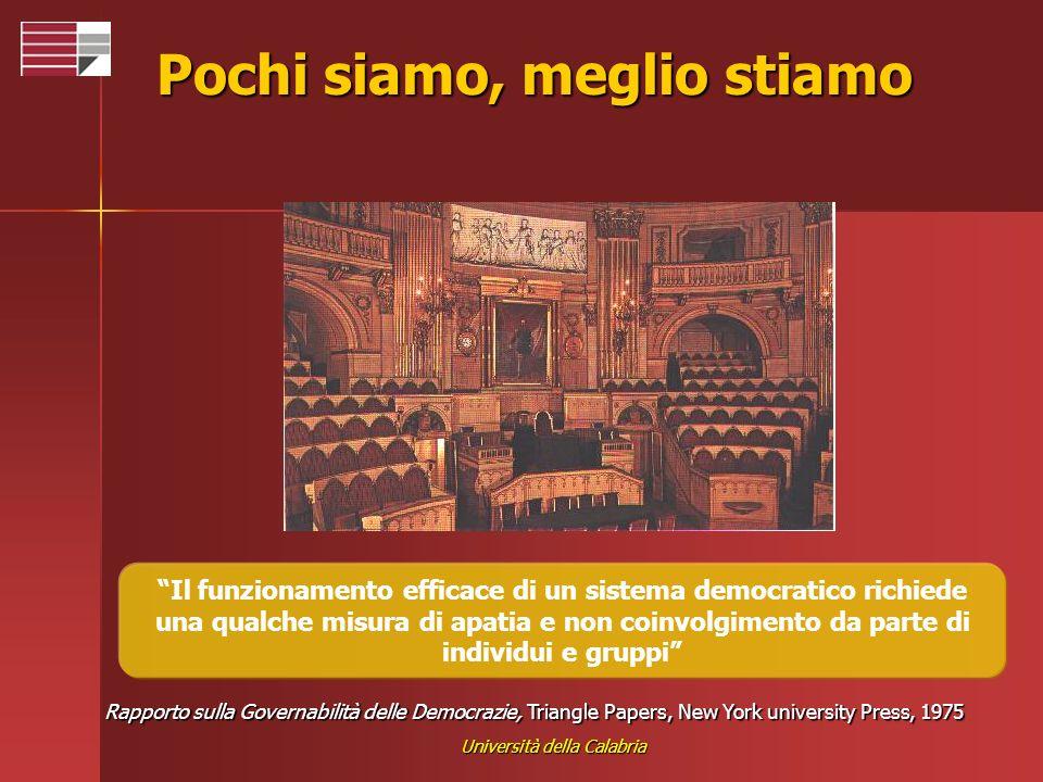 Università della Calabria Pochi siamo, meglio stiamo Il funzionamento efficace di un sistema democratico richiede una qualche misura di apatia e non c