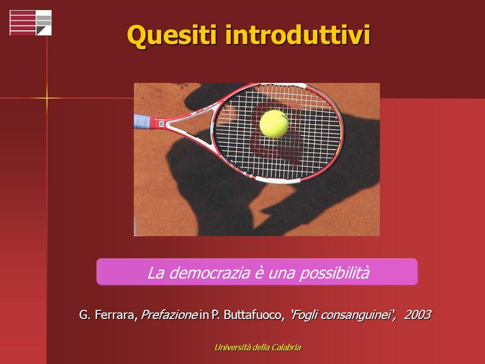 Università della Calabria Quesiti introduttivi La democrazia è una possibilità G. Ferrara, Prefazione inP. Buttafuoco, Fogli consanguinei, 2003