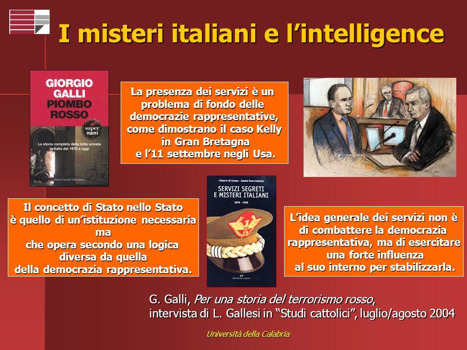 Università della Calabria I misteri italiani e lintelligence G. Galli, Per una storia del terrorismo rosso, intervista di L. Gallesi in Studi cattolic