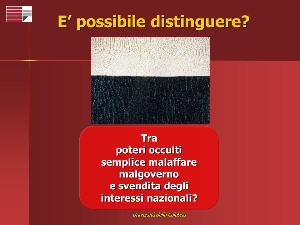 Università della Calabria E possibile distinguere? Tra poteri occulti semplice malaffare malgoverno e svendita degli interessi nazionali?