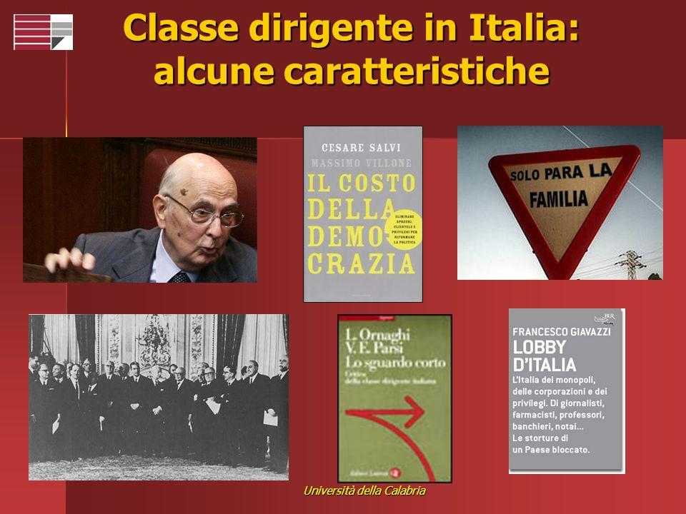 Università della Calabria Classe dirigente in Italia: alcune caratteristiche