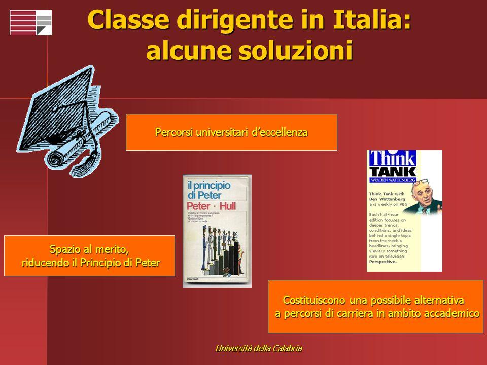 Università della Calabria Classe dirigente in Italia: alcune soluzioni Costituiscono una possibile alternativa a percorsi di carriera in ambito accade