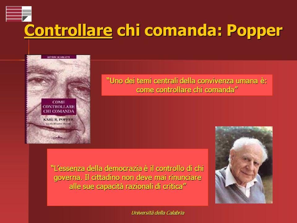 Università della Calabria Controllare chi comanda: Popper Uno dei temi centrali della convivenza umana è: come controllare chi comanda Lessenza della