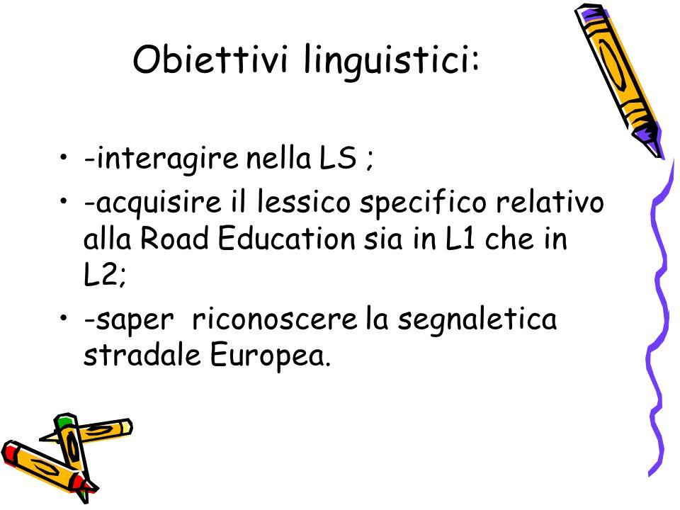 Obiettivi linguistici: -interagire nella LS ; -acquisire il lessico specifico relativo alla Road Education sia in L1 che in L2; -saper riconoscere la