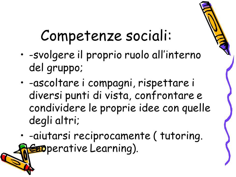 Competenze sociali: -svolgere il proprio ruolo allinterno del gruppo; -ascoltare i compagni, rispettare i diversi punti di vista, confrontare e condiv