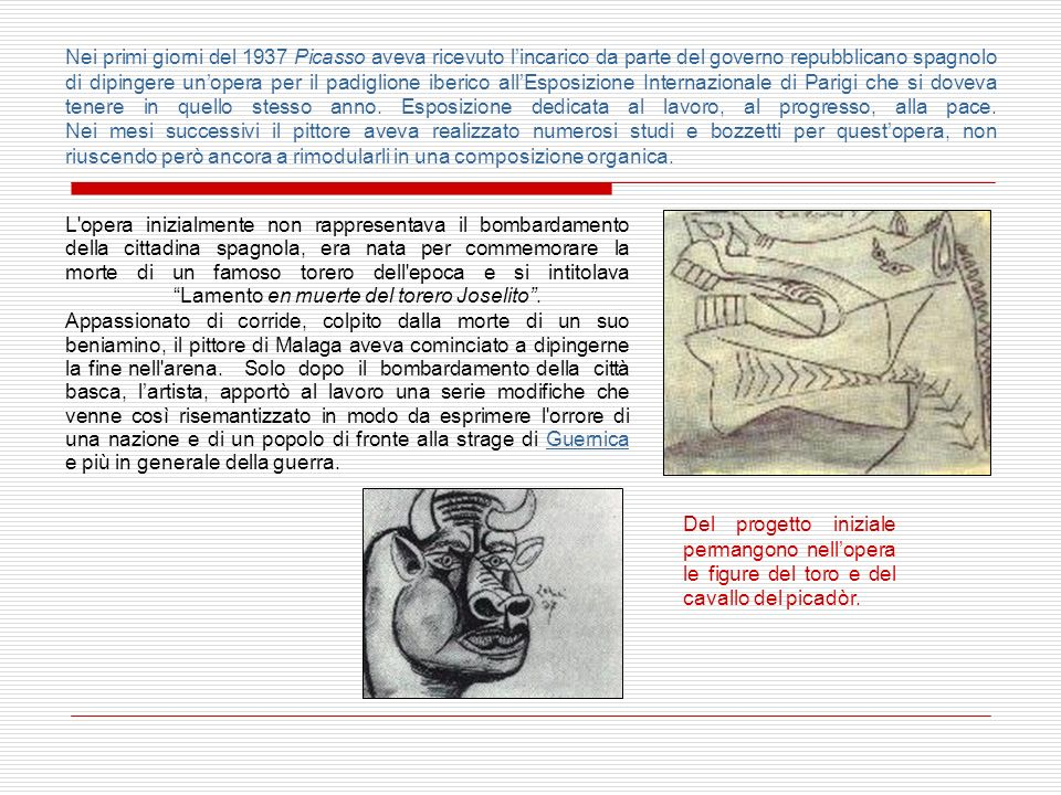 Rispettando le linee generali del Cubismo anche se questa esperienza pittorica era ormai terminata da tempo, lartista spagnolo esprime in Guernica la sua opposizione ai regimi totalitari che si erano diffusi in Europa nel corso della prima metà del XX secolo.