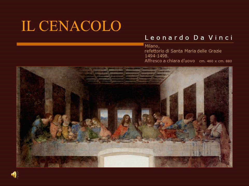 IL CENACOLO L e o n a r d o D a V i n c i Milano, refettorio di Santa Maria delle Grazie 1494-1498. Affresco a chiara duovo cm. 460 x cm. 880