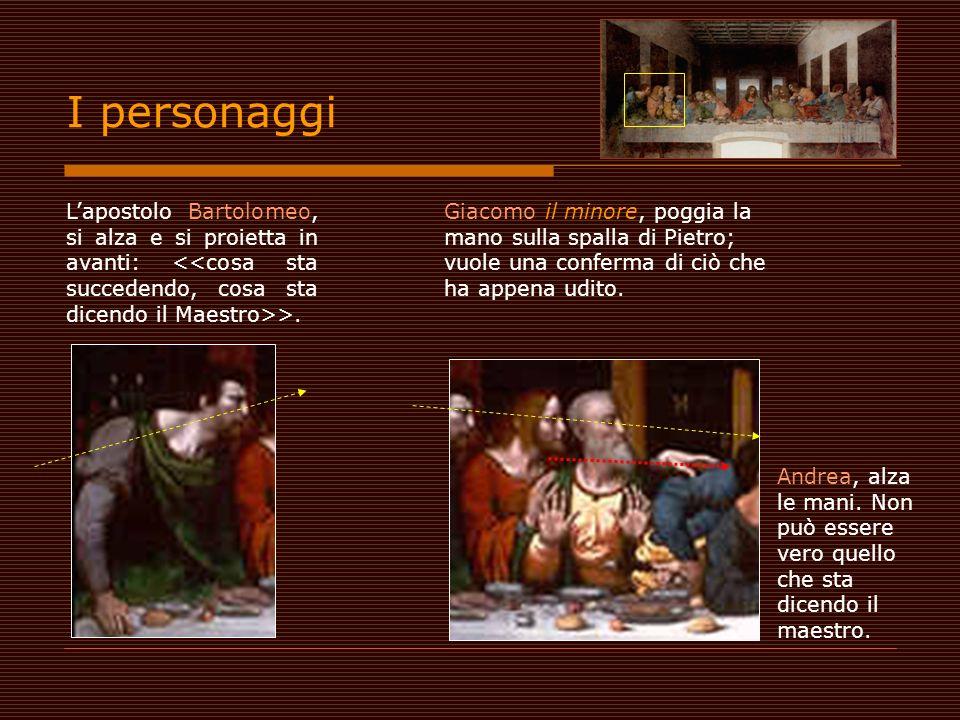 Lapostolo Bartolomeo, si alza e si proietta in avanti: >. Giacomo il minore, poggia la mano sulla spalla di Pietro; vuole una conferma di ciò che ha a